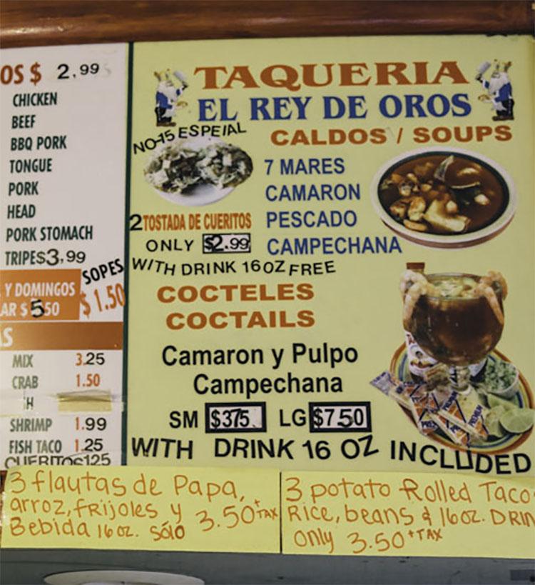 Taqueria El Rey de Oros menu - soups, cocktails, more