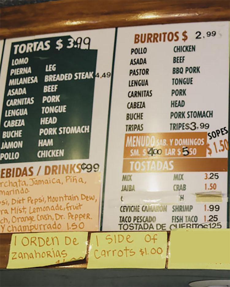 Taqueria El Rey de Oros menu - tortas, burritos, bebidas