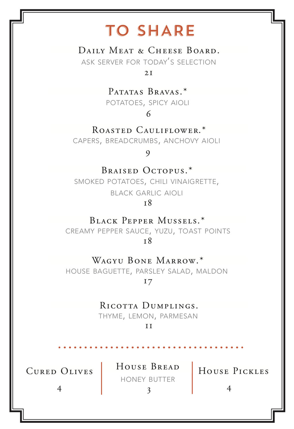 The Copper Onion menu - to share