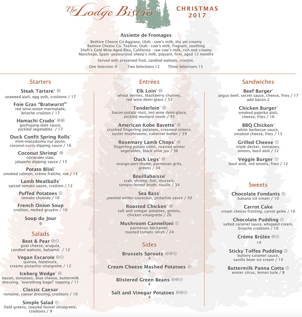 The Lodge Christmas Day 2017 menu