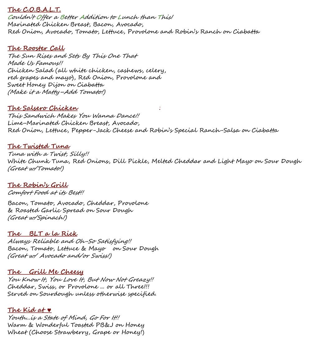 The Robins Nest menu - sandwiches detailed three