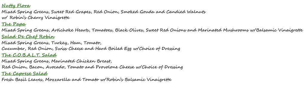 The Robins Nest menu - salads