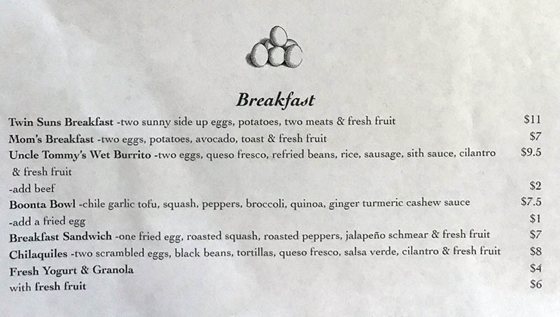 Twin Suns Cafe menu - breakfast