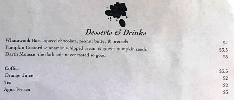 Twin Suns Cafe menu - desserts and drinks