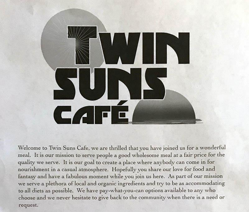 Twin Suns Cafe menu - header