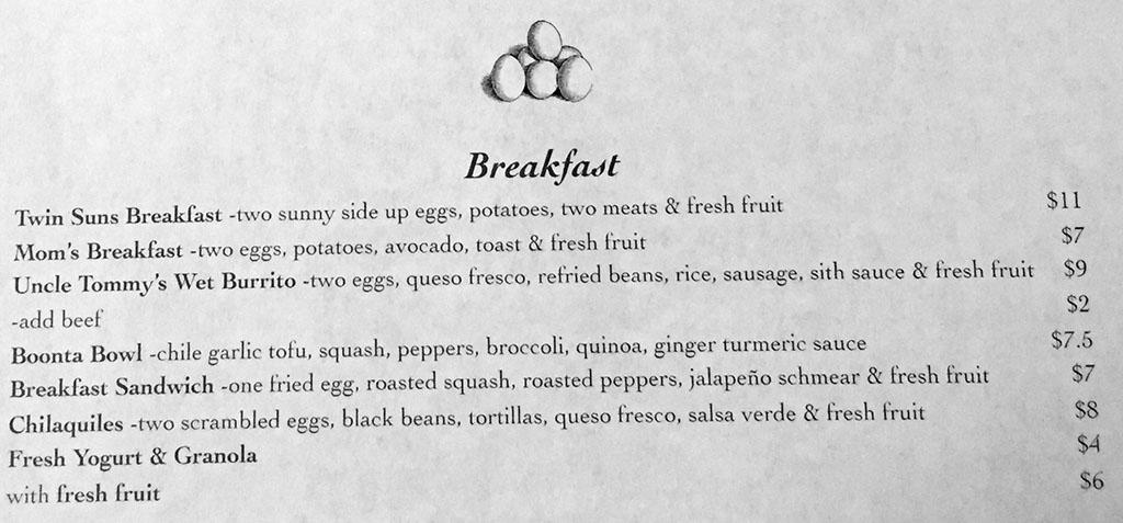 Twin Suns menu - breakfast
