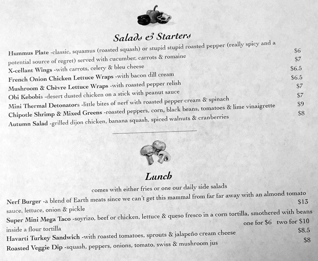 Twin Suns menu - starters, salads, lunch