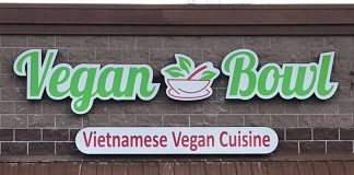 Vegan Bowl - exterior signage. Credit Vegan Bowl