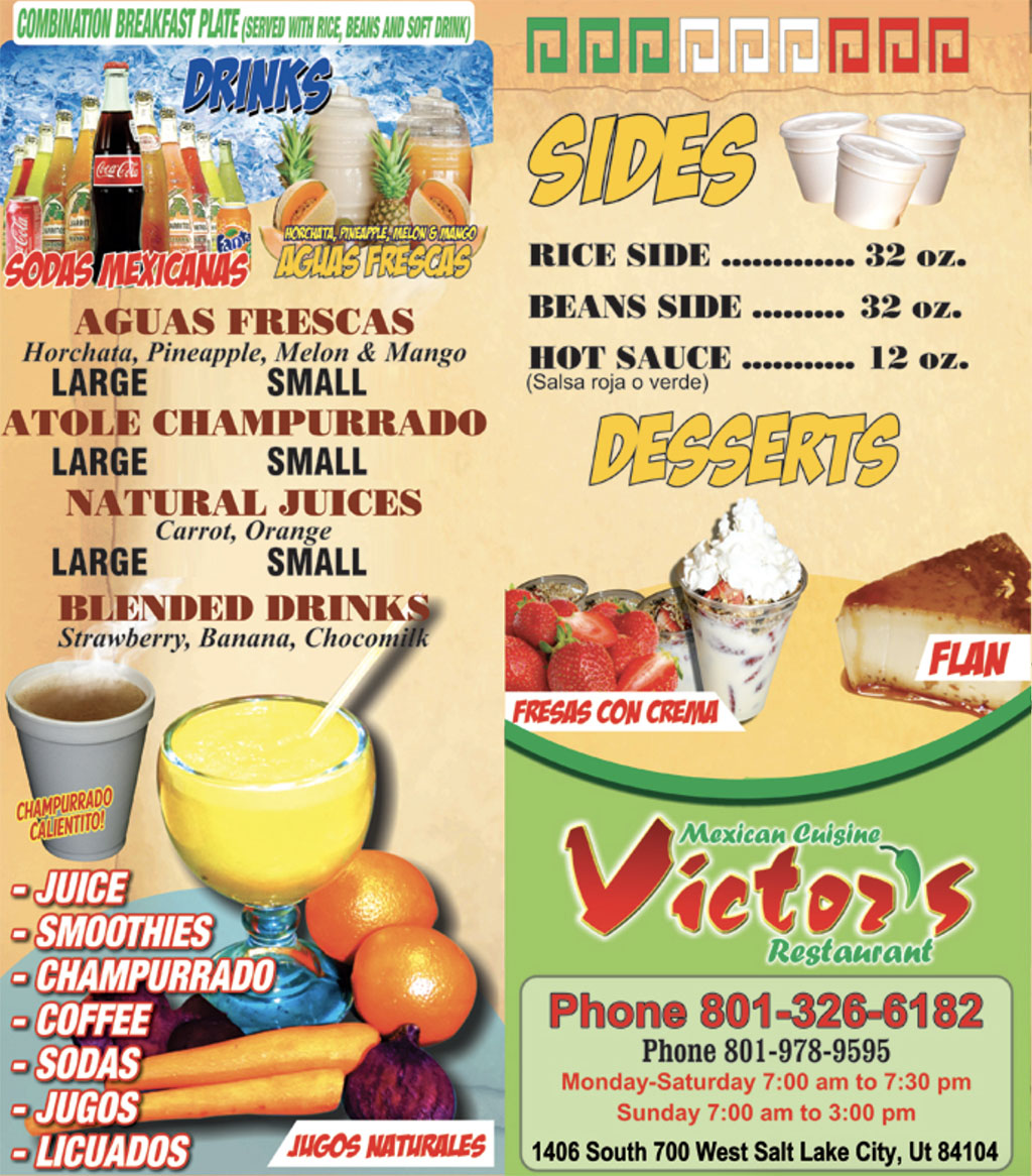 Victor's Tires And Restaurant menu - page three