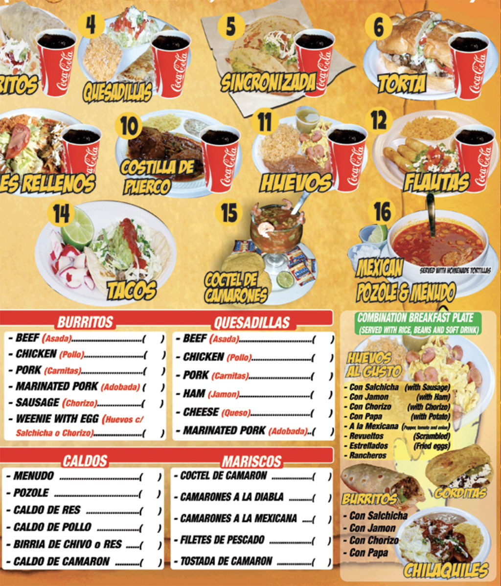 Victor's Tires And Restaurant menu - page two