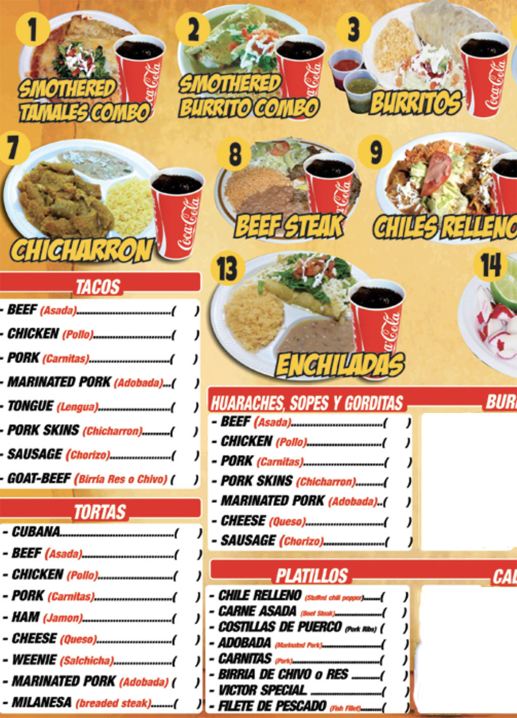 Victor's Tires And Restaurant menu - page one