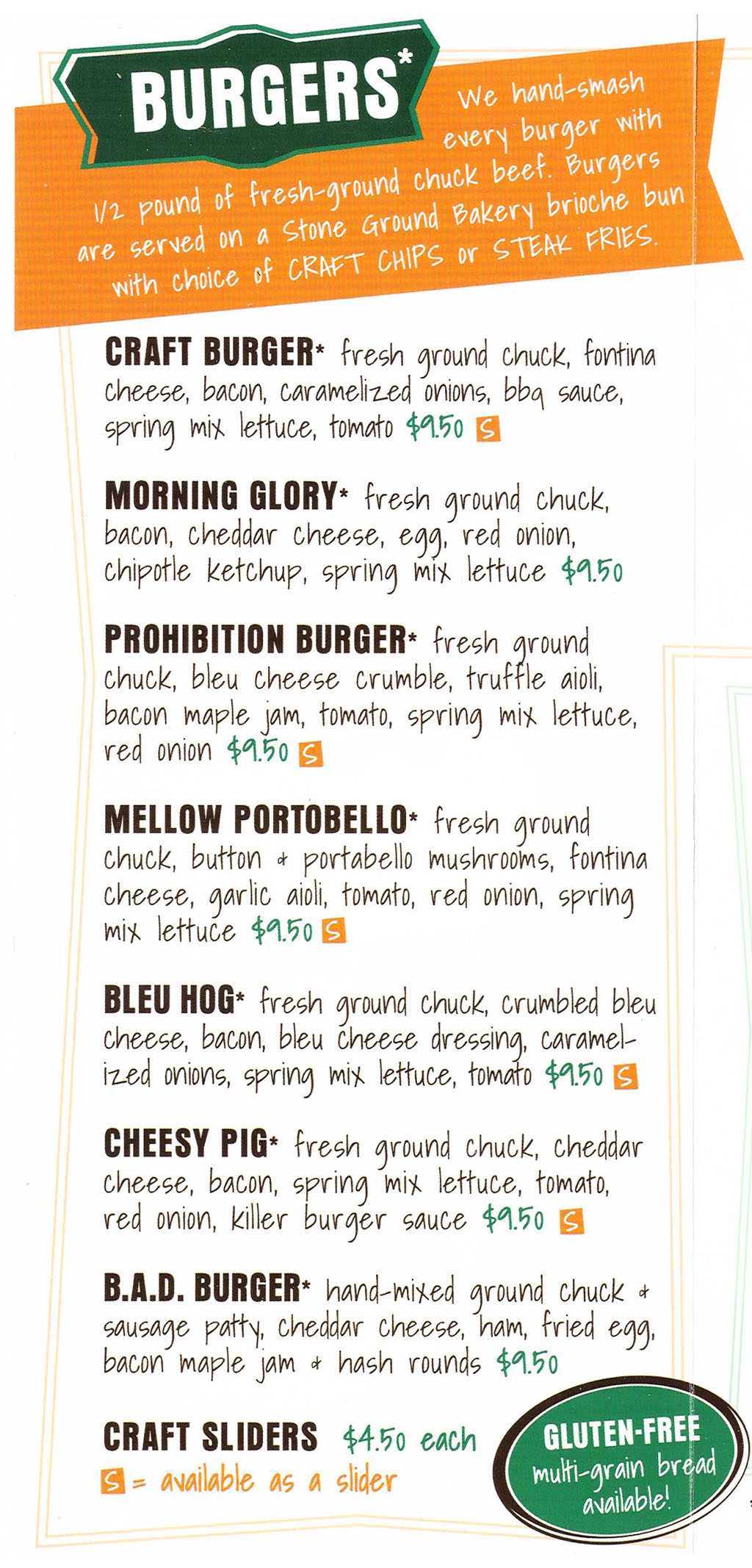 Warrens Craft Burger menu - burgers