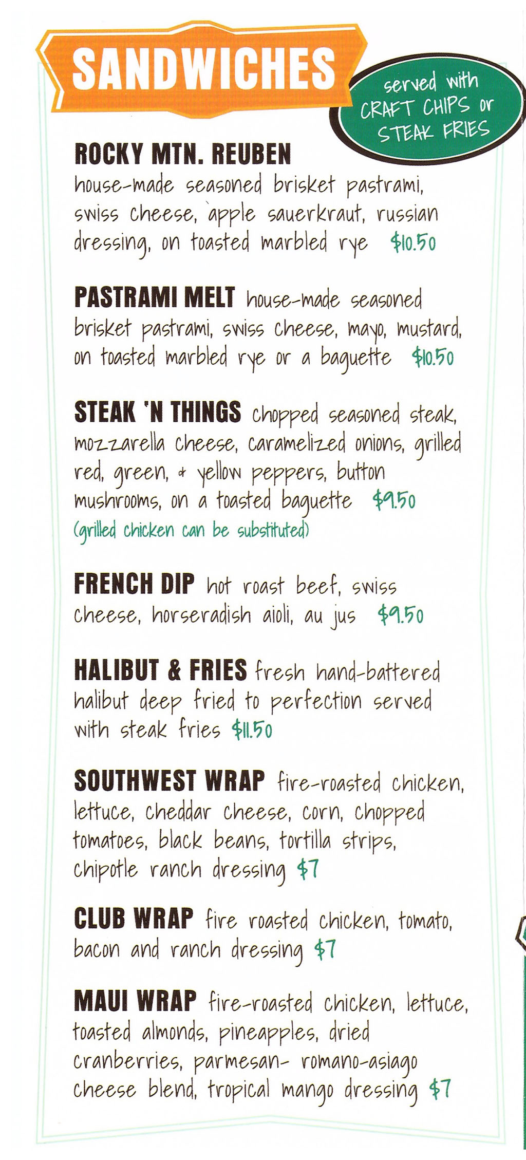 Warrens Craft Burger menu - sandwiches
