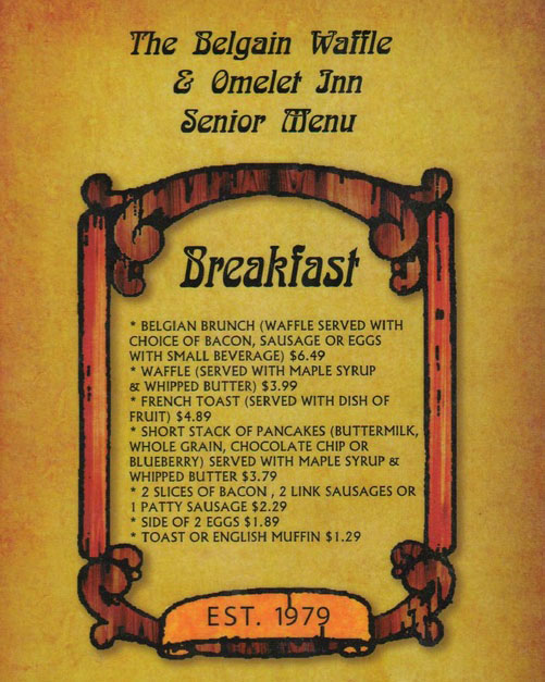 elgian Waffle And Omelet Inn menu - senior menu breakfast