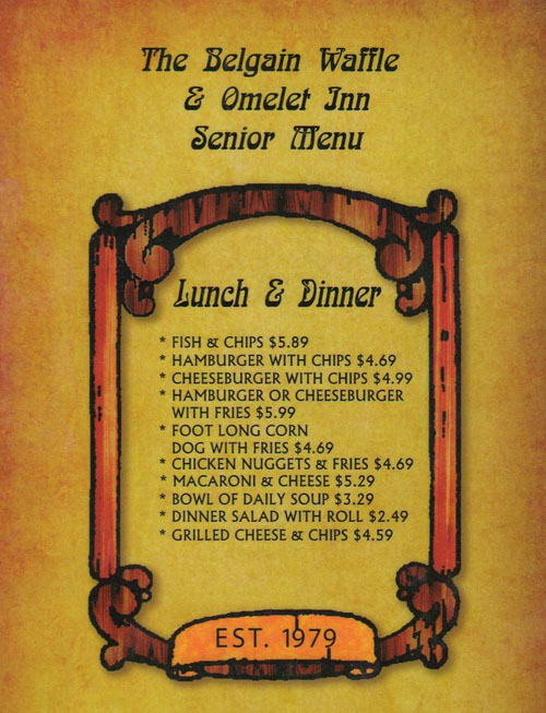 elgian Waffle And Omelet Inn menu - senior menu lunch and dinner