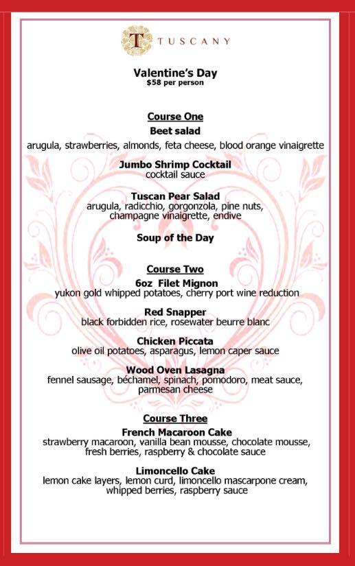 Tuscany Valentines Day 2018 menu