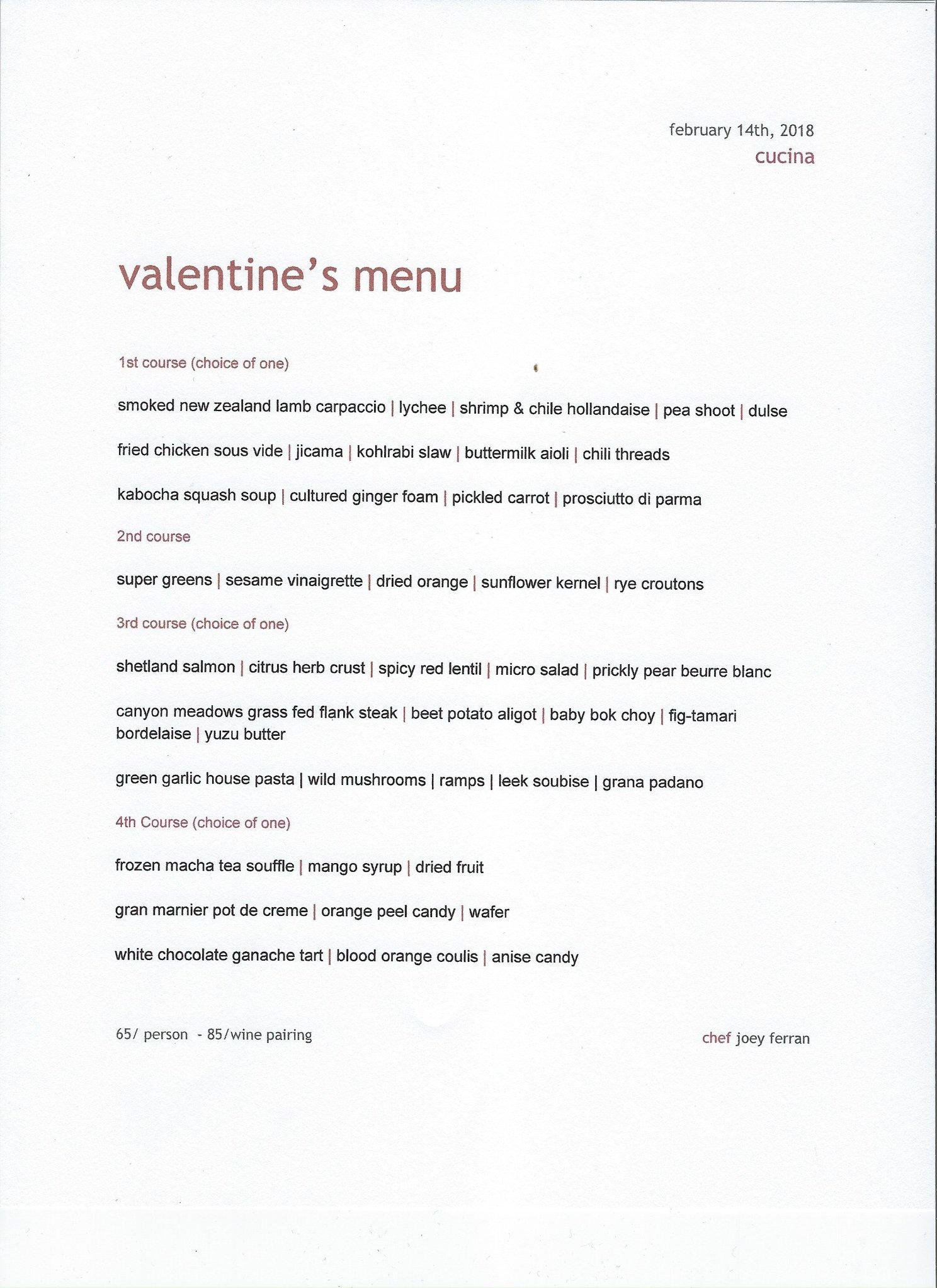 Cucina Valentines Day Menu 2018