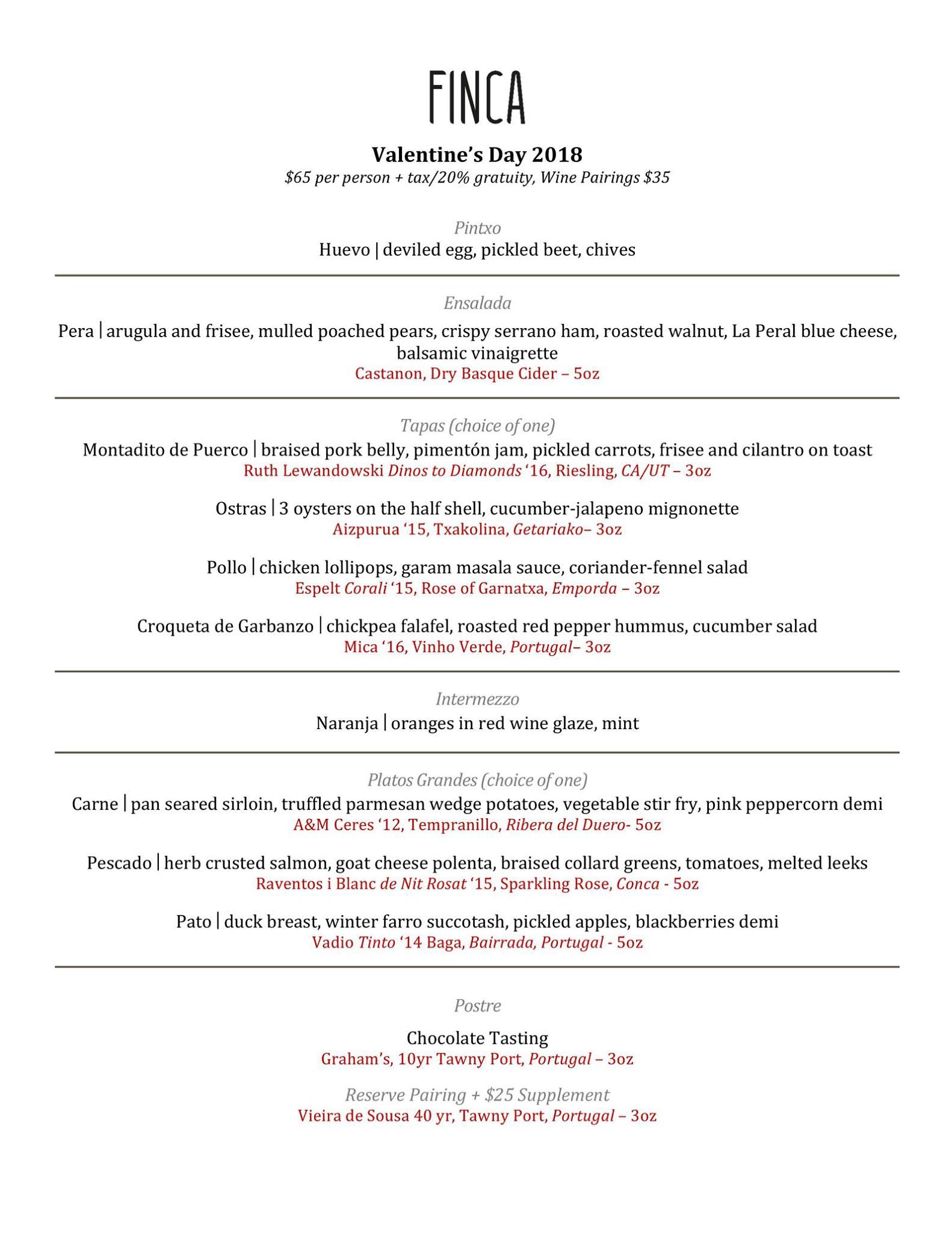 Finca Valentines Day 2018 menu