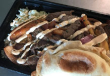 Amkha Misky Peruvian food truck menu - lomo saltado and empanada. Credit, Amkha Misky