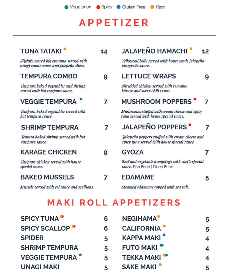 Blue Marlin menu - appetizers