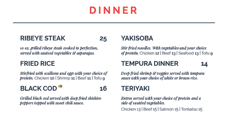 Blue Marlin menu - dinner entrees