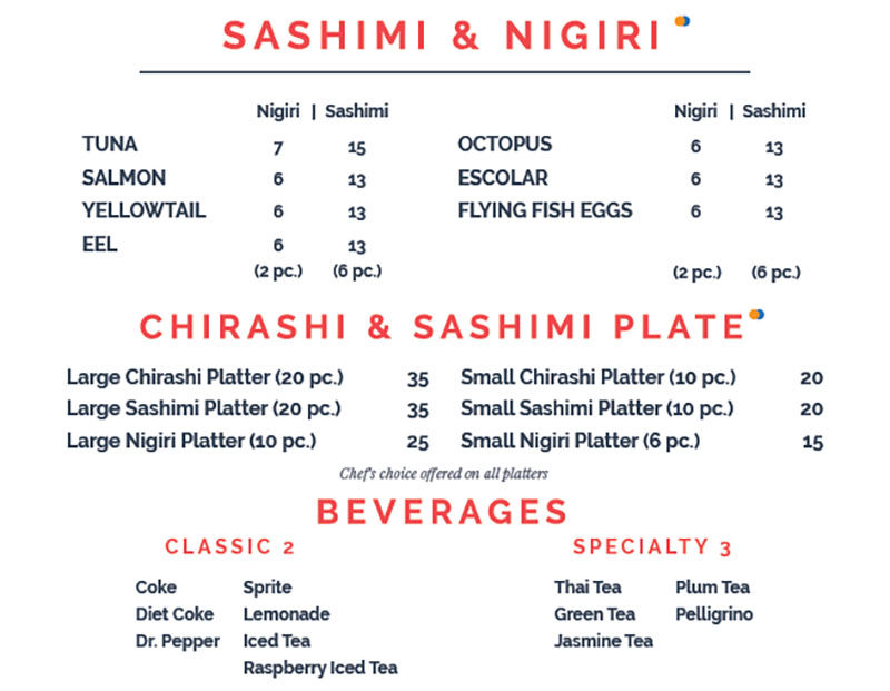 Blue Marlin menu - sashimi, nigiri, beverages