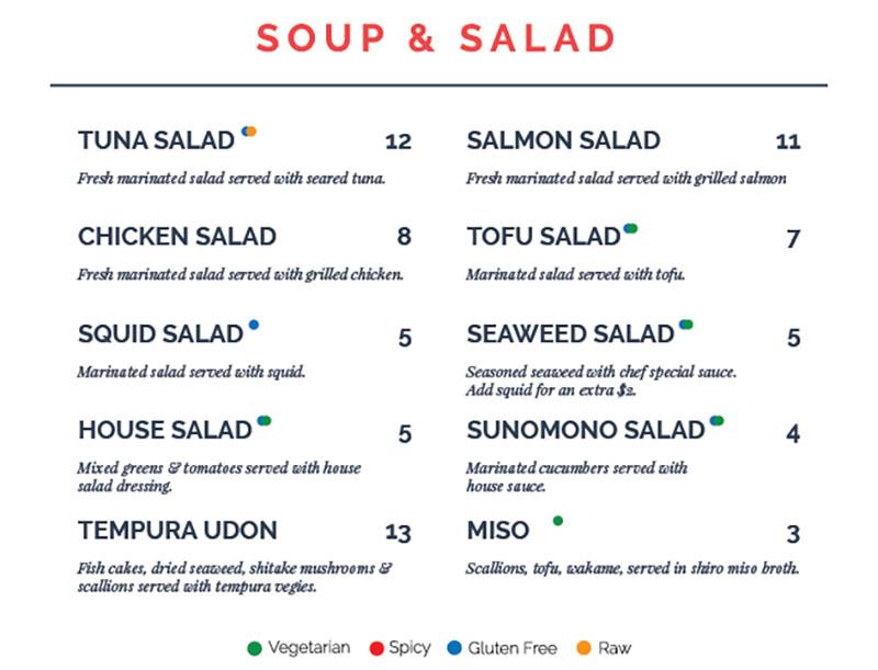 Blue Marlin menu - soup and salad