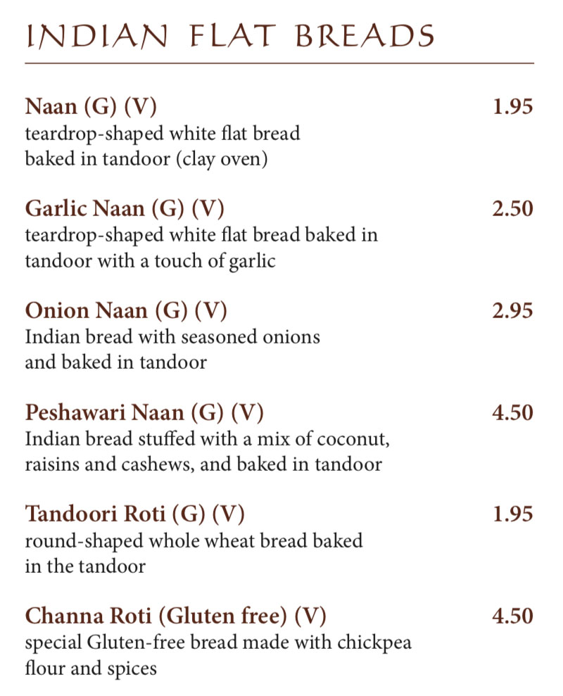 Bombay House menu - Indian breads