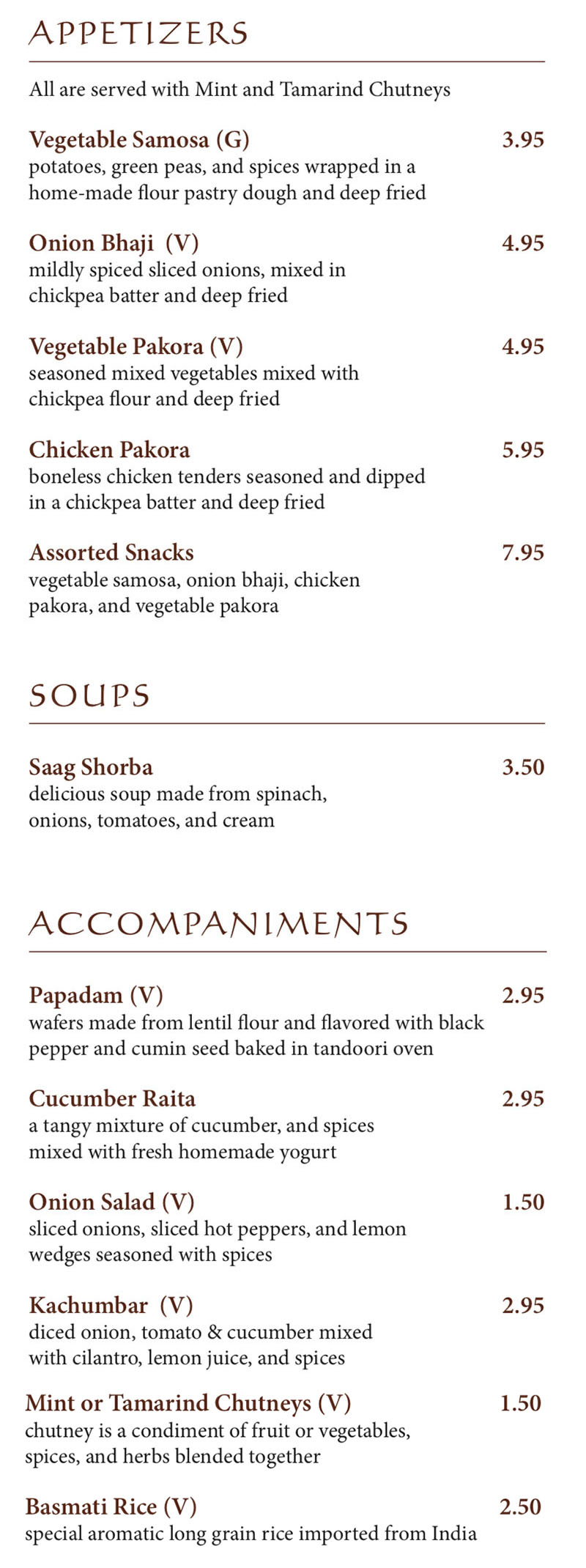 Bombay House menu - appetizers, soups, accompaniments