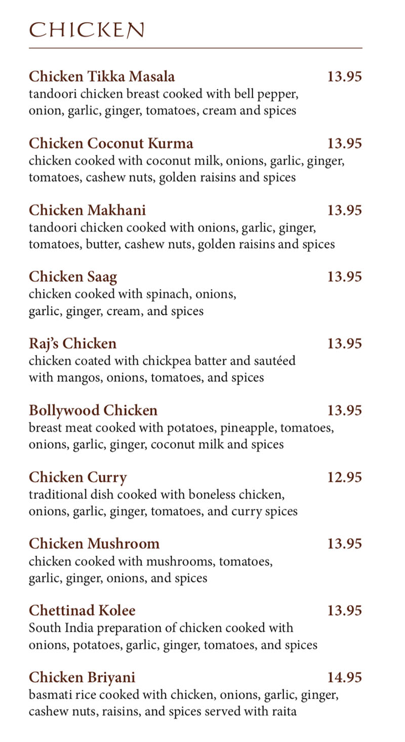 Bombay House menu - chicken dishes