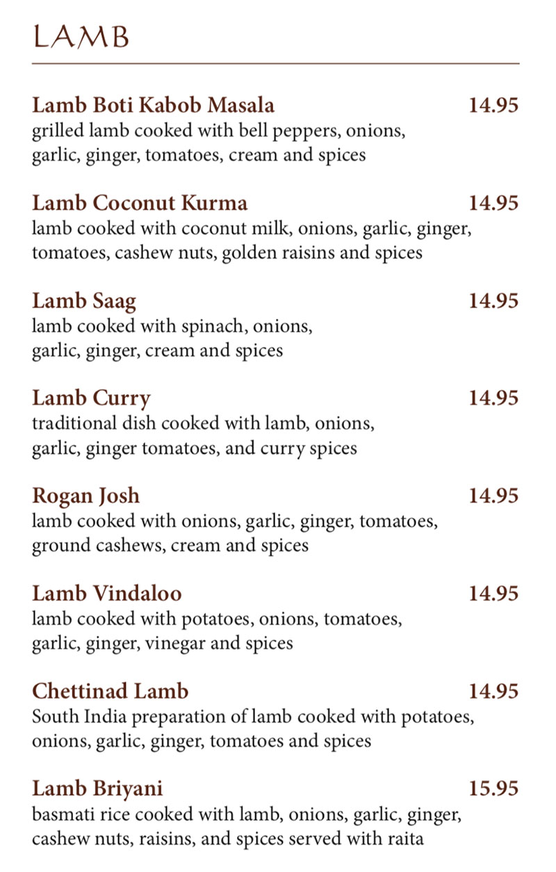 Bombay House menu - lamb dishes