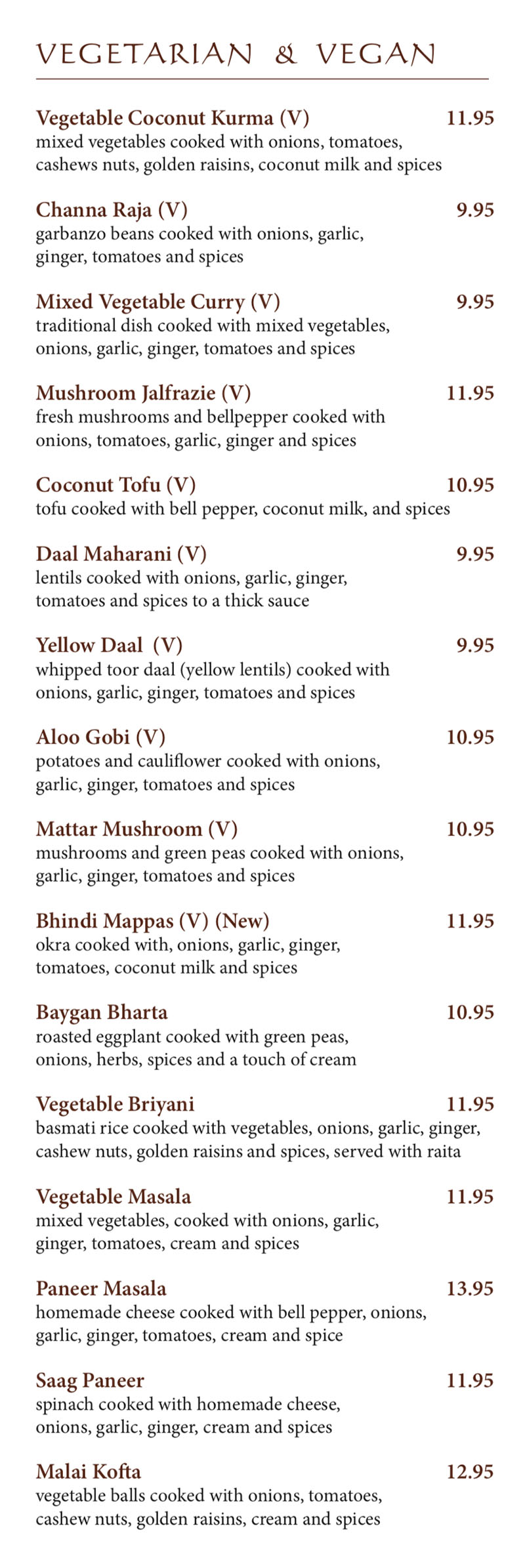 Bombay House menu - vegetarian and vegan