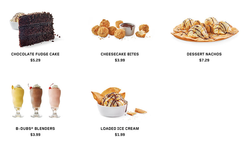 Buffalo Wild Wings menu - desserts