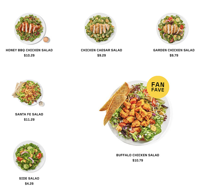 Buffalo Wild Wings menu - greens