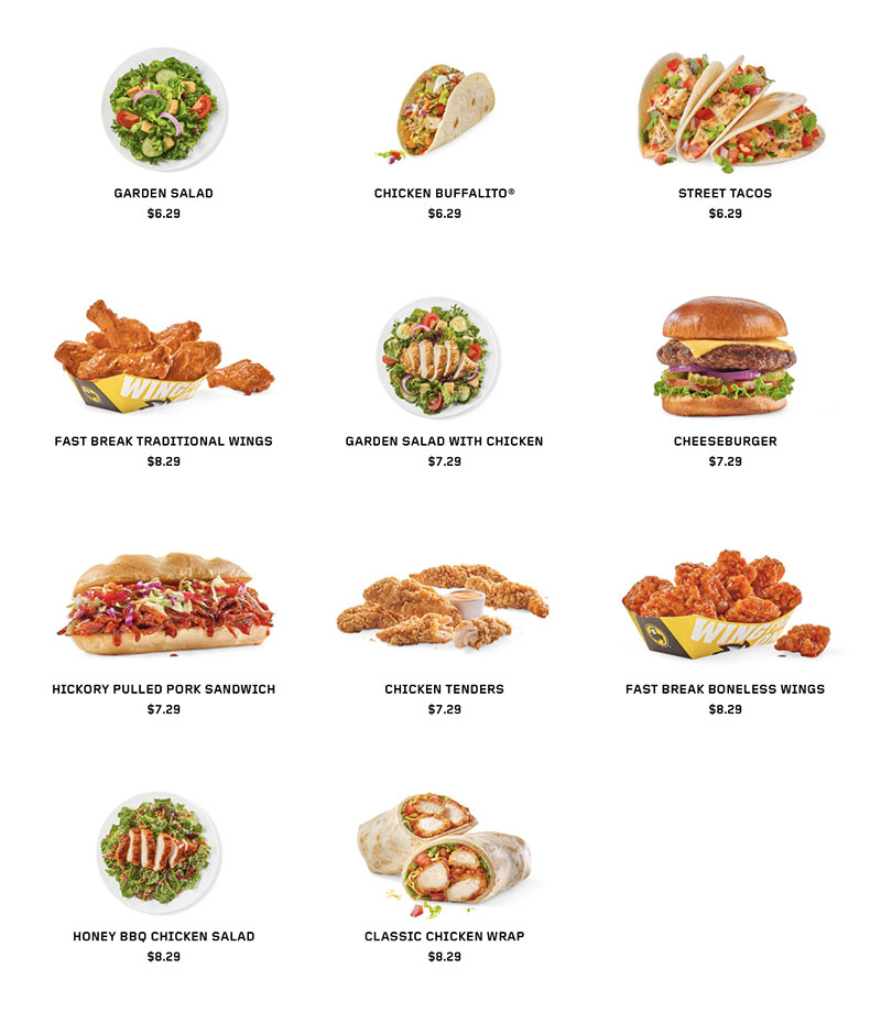 Buffalo Wild Wings menu - lunch items