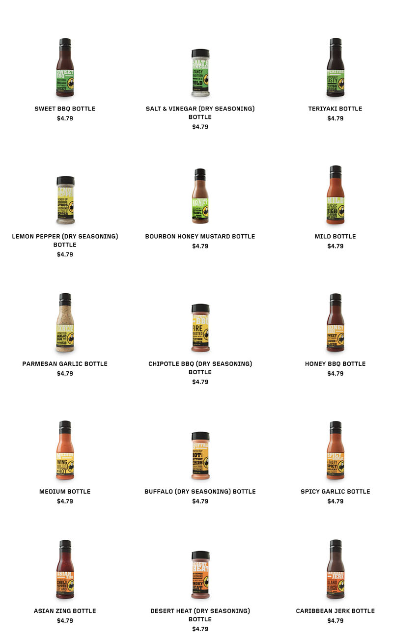 Buffalo Wild Wings menu - seasoning bottles