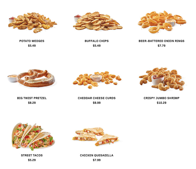 Buffalo Wild Wings menu - shareables continued