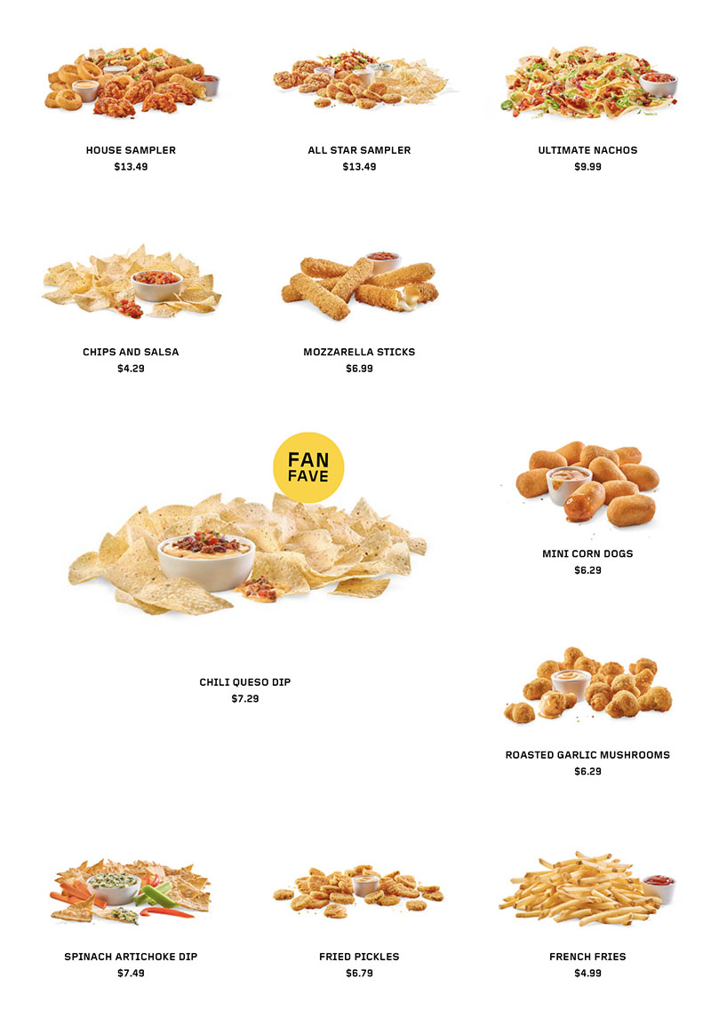 Buffalo Wild Wings menu - shareables