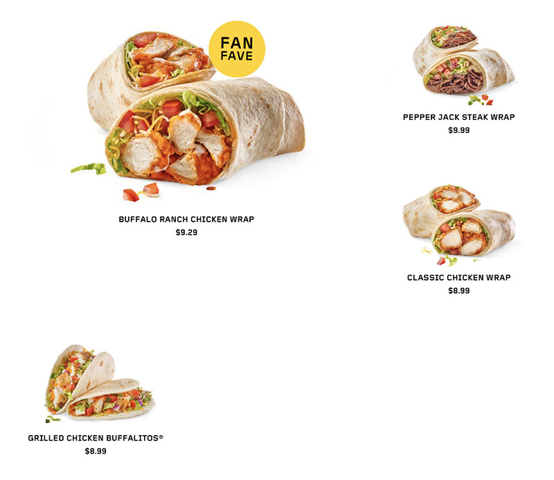 Buffalo Wild Wings menu - wraps