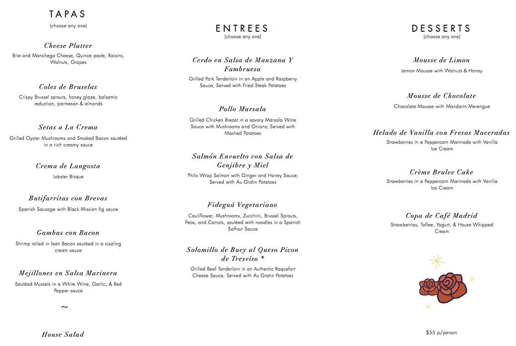 Cafe Madrid Valentines Day 2018 menu
