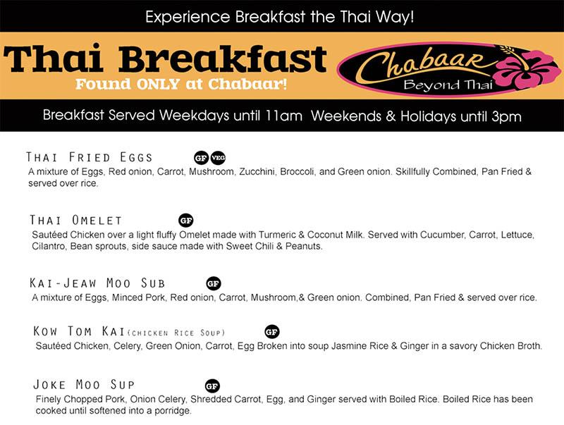 Chabaar Beyond Thai breakfast menu - Thai breakfast