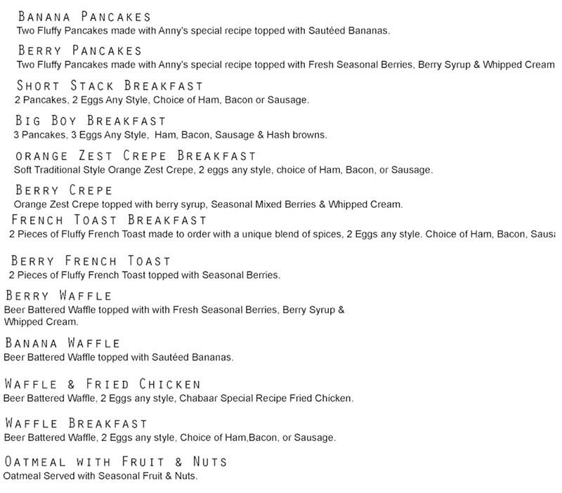 Chabaar Beyond Thai breakfast menu - other breakfast items