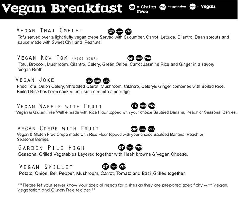 Chabaar Beyond Thai breakfast menu - vegan breakfast