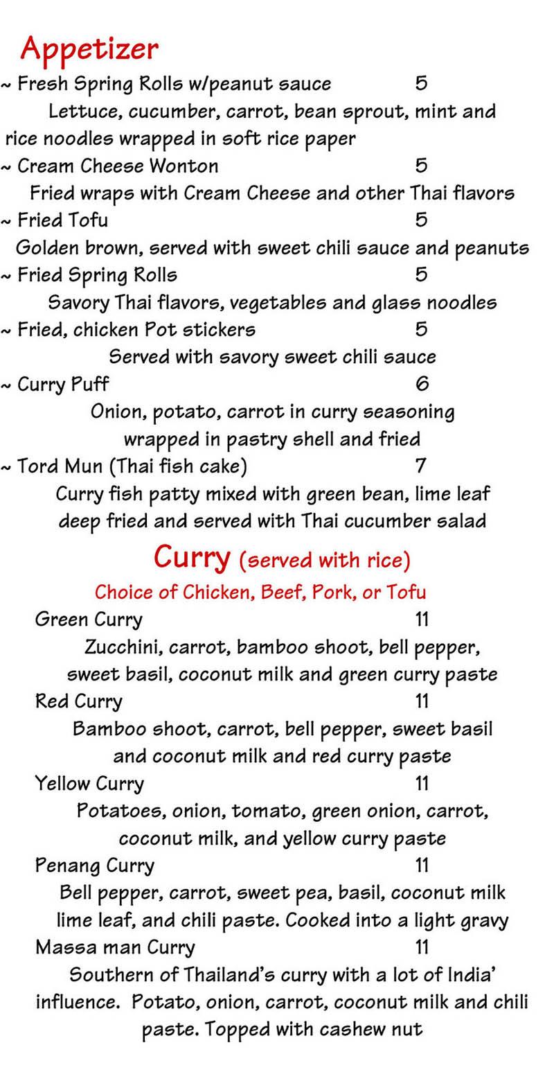 Chabaar Beyond Thai menu - appetizers, curry