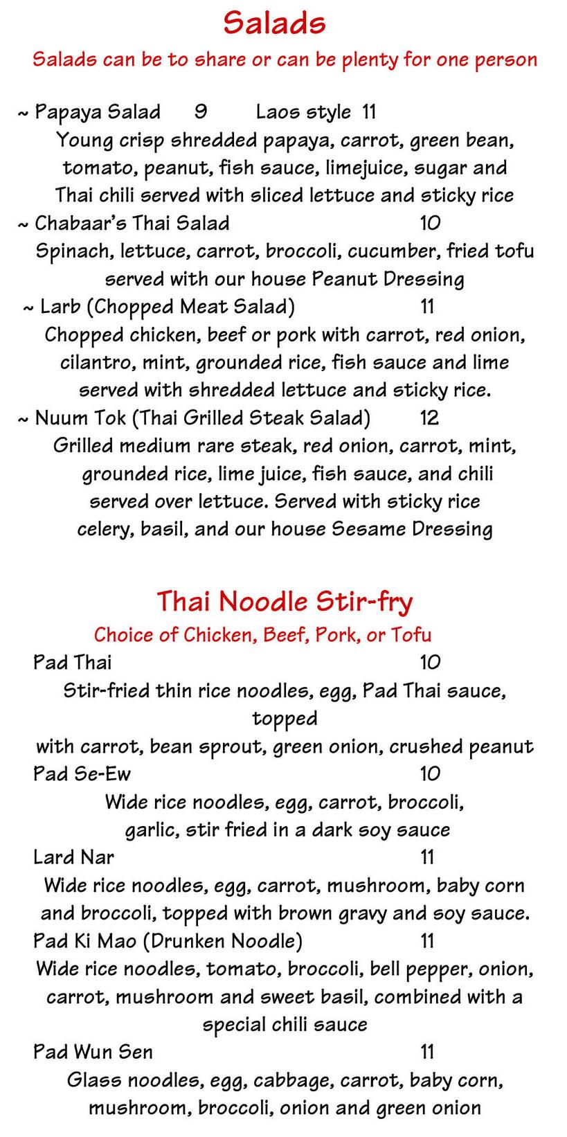 Chabaar Beyond Thai menu - salads, stir fry