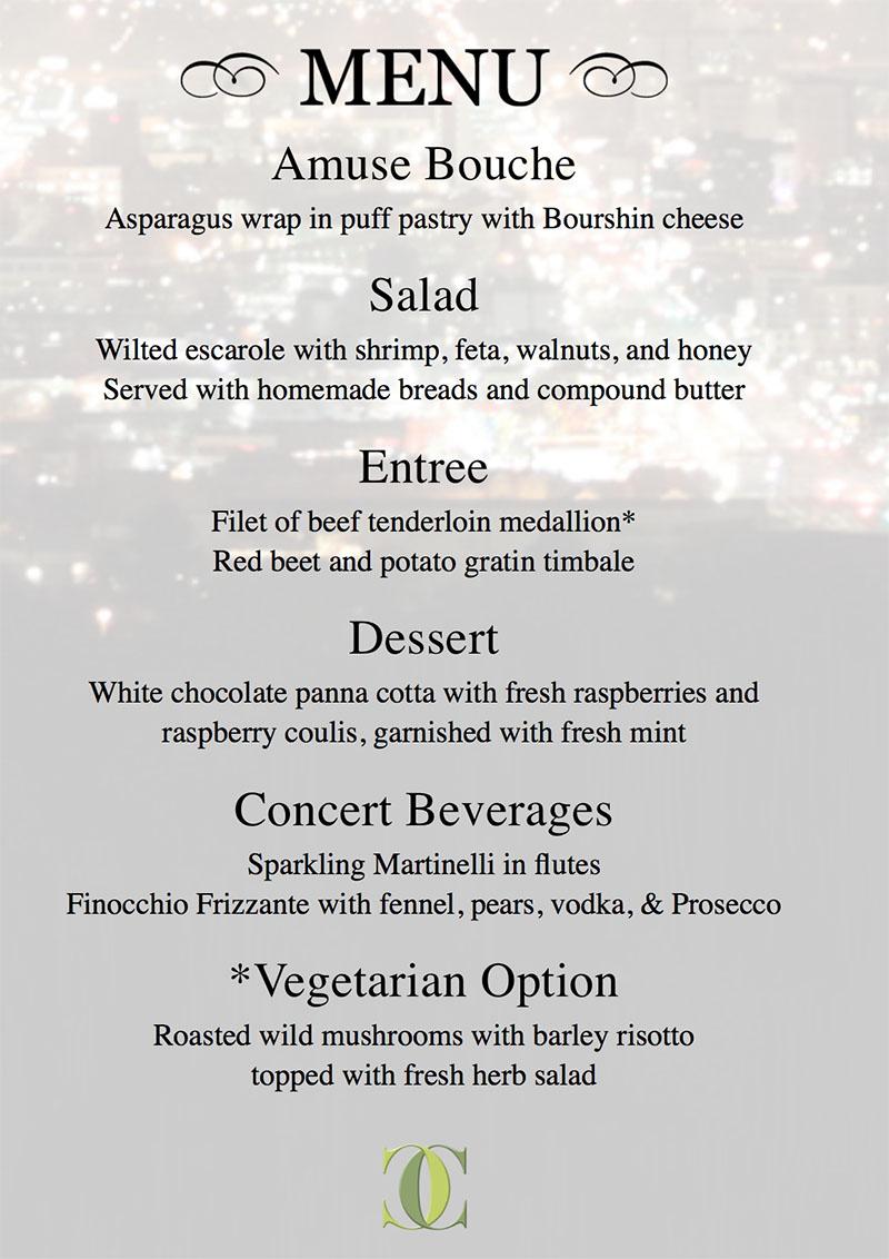 Culinary Crafts valentine 2018 menu