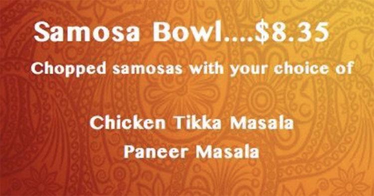 Curry Time food truck menu - samosa bowl
