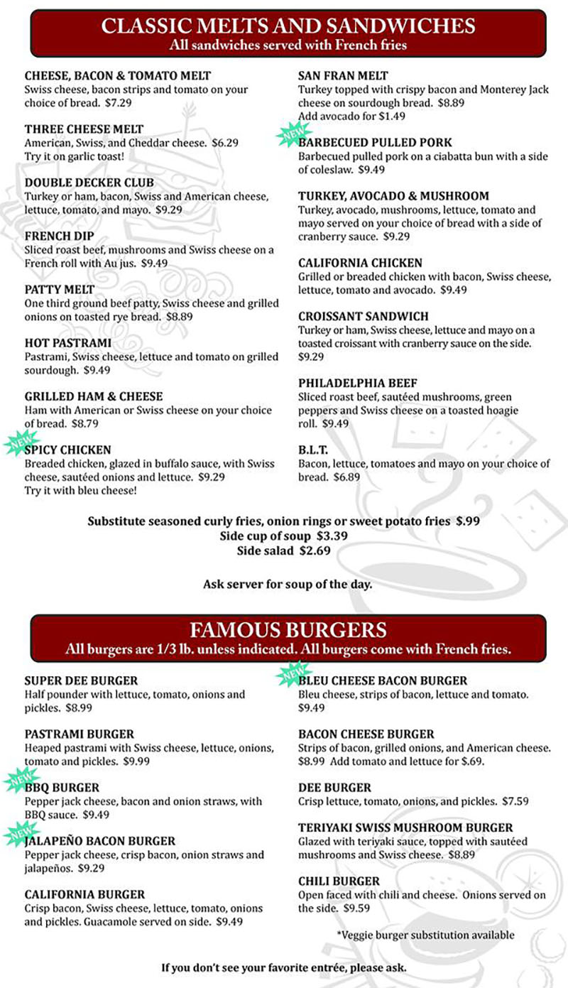 Dees family restauarany menu - melts, sandwiches, burgers