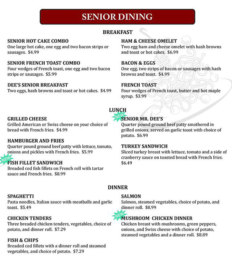 Dees family restaurant menu - seniors