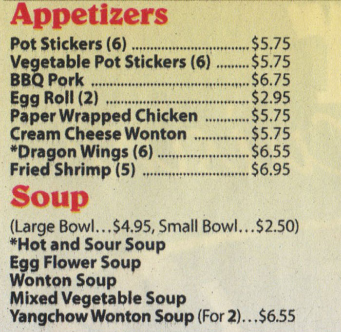 Dragon Diner menu - appetizers, soup